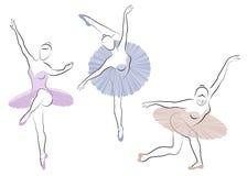 Kolekcja Sylwetka ?liczna dama, jest dancingowym baletem Dziewczyna pi?kn? posta? Kobiety balerina wektor royalty ilustracja