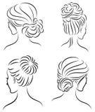Kolekcja Sylwetka profil ?liczna damy s g?owa Dziewczyna pokazuje jej fryzur? dla ?redniego i d?ugie w?osy Stosowny dla logo, royalty ilustracja