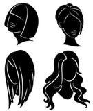 Kolekcja Sylwetka profil ?liczna damy s g?owa Dziewczyna pokazuje jej fryzur? dla ?redniego i d?ugie w?osy Stosowny dla logo, ilustracja wektor