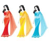 Kolekcja Sylwetka urocze damy Dziewczyny ubieraj? w sari, tradycyjny India?ski obywatel odziewaj? Kobiety s? m?ode i ilustracji