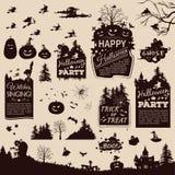 Kolekcja sylwetki i sztandary dla Halloween Fotografia Royalty Free