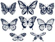Kolekcja sylwetki motyle Motylie ikony również zwrócić corel ilustracji wektora royalty ilustracja