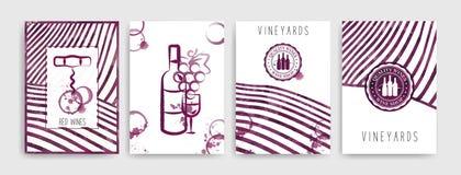 Kolekcja szablony z wino projektami Broszurki, plakaty, zaproszenie karty, promocyjni sztandary, menu Wino plami tło royalty ilustracja