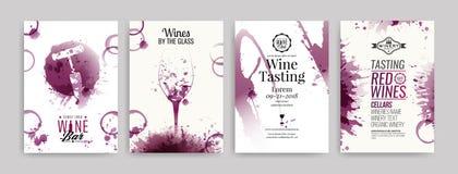 Kolekcja szablony z wino projektami Broszurki, plakaty, zaproszenie karty, promocyjni sztandary, menu Wino plami tło ilustracja wektor
