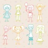 Kolekcja szczęśliwi dzieci Ręka rysujący kreskówka szczęśliwi dzieciaki Obraz Stock