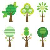 Kolekcja sześć drzew. Obraz Stock