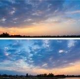 Kolekcja tła z zmierzchu niebem Obrazy Stock