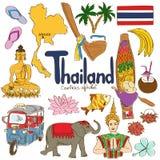 Kolekcja Tajlandia ikony ilustracja wektor