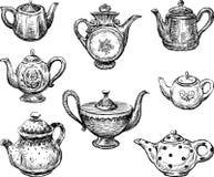Kolekcja teapots royalty ilustracja
