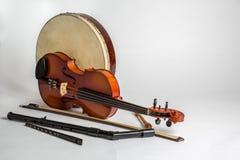 Kolekcja tradycyjni Irlandzcy instrumenty muzyczni Obraz Stock