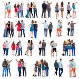 Kolekcja Tylny widok grupowi ludzie Set Fotografia Stock