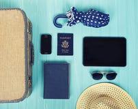 Kolekcja urlopowe podróży rzeczy Obrazy Stock