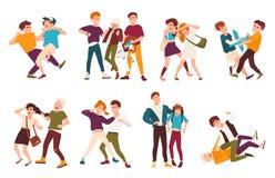 Kolekcja walczący dzieci Konflikty między dzieciakami, gwałtowny zachowanie wśród nastolatków ilustracja wektor
