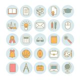Kolekcja wektorowe liniowe ikony: szkoła i edukacja Zdjęcia Stock