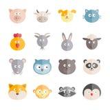 Kolekcja wektorowe płaskie zwierzę ikony Obraz Royalty Free