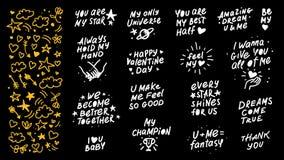 Kolekcja wektorowe ręcznie robiony literowanie miłości wycena i wystrojów elementy odizolowywający na czarnym tle Zdjęcia Royalty Free