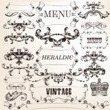 Kolekcja wektorowi dekoracyjni kaligraficzni elementy w roczniku Fotografia Stock