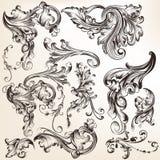 Kolekcja wektorowi dekoracyjni zawijasów elementy w rocznika stylu Obrazy Royalty Free