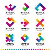 Kolekcja wektorowi logowie abstrakcjonistyczni moduły Zdjęcia Stock