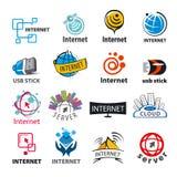 Kolekcja wektorowi logowie sieć i internet Obrazy Stock
