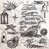 Kolekcja wektorowy antykwarski elementu morza lata i odpoczynku vacati royalty ilustracja