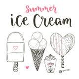 Kolekcja wektorowy kreskówka lody set Rożki i śliczni lody w doodle stylu Wektorowy ustawiający z literowaniem Zdjęcia Royalty Free