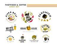 Kolekcja wektorowy płaski fasta food i kawy logo ustawia odosobnionego na białym tle Fotografia Royalty Free
