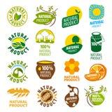 Kolekcja wektorowych logów naturalny produkt royalty ilustracja