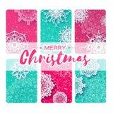 Kolekcja 6 Wesoło boże narodzenia nowy rok kartka z pozdrowieniami i royalty ilustracja