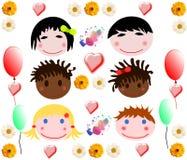 Kolekcja wesoło dziecko twarze różne rasy Obrazy Stock