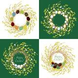 Kolekcja Wianek młode wierzbowe gałąź Sk?ad dekoruje z pi?knymi Wielkanocnymi jajkami Symbol wiosna i royalty ilustracja