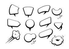 Set wiele komiczna kreskówka stylu mowa gulgocze royalty ilustracja