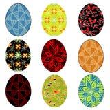 Kolekcja Wielkanocny jajko z maluj?cym ornamentem Symbol wielkanoc Antyczna tradycja ludzie abstrakcjonistycznych t?a b??kitny gu ilustracji