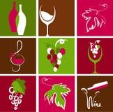 Kolekcja wino ikony Obrazy Royalty Free