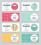 Kolekcja wizytówki dla koktajlu baru Obraz Stock