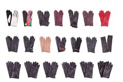 Kolekcja women& x27; s x27 i men&; s rękawiczki Zdjęcia Royalty Free