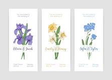 Kolekcja wspaniali pionowo ślubni zaproszenie szablony z wiosna ogródu kwitnienia kwiatami i miejsce dla teksta dalej ilustracja wektor