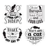 Kolekcja wycena typographical tło o kotach Zdjęcie Stock