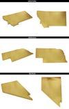 Kolekcja złoci kształty od USA amerykańskich stanów Montana, Nebraska, Nevada Fotografia Royalty Free