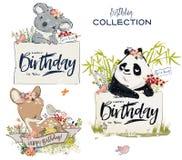 Kolekcja z ślicznymi urodzinowymi zwierzętami z kwiatami royalty ilustracja