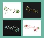 Kolekcja z 4 Wakacyjnymi kartami robić ręki literowania miłość, nadzieja, pokój, radość ilustracja wektor