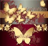 Kolekcja zaproszenie karty z motylami Obrazy Royalty Free