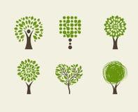 Kolekcja zielony drzewo - logowie i ikony royalty ilustracja