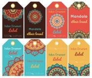 Kolekcja zrozumienie etykietki z orientalnym ornamentem Fotografia Royalty Free
