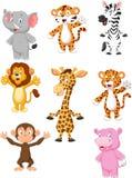 Kolekcja 8 zwierząt Afrykańska kreskówka Obraz Royalty Free
