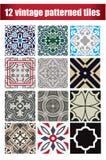 9 kolekcje deseniujących roczników płytek Obrazy Stock