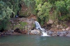 Kolekole Beach Park Waterfall, Hawaii. Kolekole Beach Park waterfalls and rope swing on the Big Island, Hawaii Royalty Free Stock Image