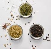 Kolendrowych ziaren Czarnego pieprzu kozieradki liście Suszą zdjęcie royalty free