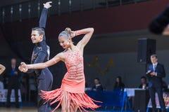 Kolesnev Sergey and Buldyk Arina performs Adult Latin-American program Royalty Free Stock Photo