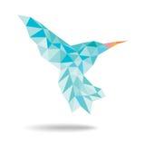 Kolibri, der geometrische Zusammenfassung auf weißem Hintergrund fliegt Lizenzfreies Stockbild